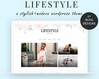 Wordpress Theme - Wordpress Blog Theme - Wordpress Theme Responsive - Feminine Lifestyle Wordpress  Blog Template - Instant Download