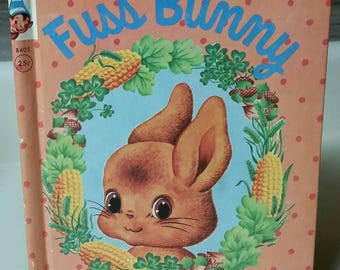 """Rand McNally Elf Book """"Fussbunny"""" by Helen and Alf Evers/Vintage 1955 Collectible Children's Book/Nursery/Baby Shower Decor"""