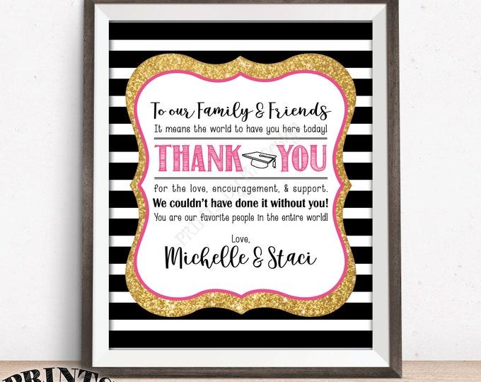 "Graduation Thank You Sign, Grads Thanks from the Graduates Graduation Party Decor, PRINTABLE 8x10"" Black Pink & Gold Glitter Graduation Sign"