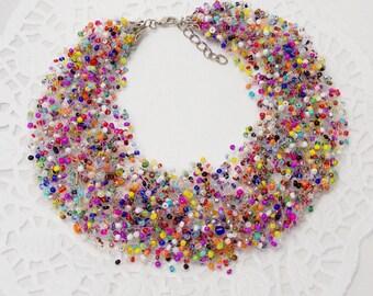 Girlfriend gift for best friend Beaded jewelry Statement necklace rainbow jewelry bib necklace spring jewelry summer jewelry funny jewelry