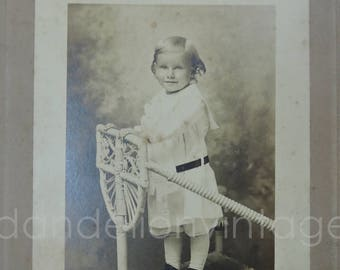 Antique Cabinet Photo, Child on Wicker Chair Edwardian 8x6 inches, early 1900s, Vintage Black & White