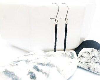 Black Vintage Bead Bar Earrings