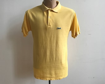 Vintage Yellow Le Tigre Polo Medium / Mens 80s / 80s Preppy / Mens Shirt Medium / Weezer Shirt / 80s