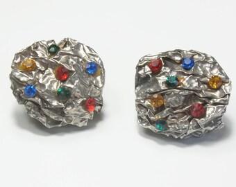 Vintage Designer Premier Etage Paris Avant Garde Bold Crinkled Crumpled Tin Rhinestone Costume Jewelry Clip STATEMENT Earrings Gift For Her