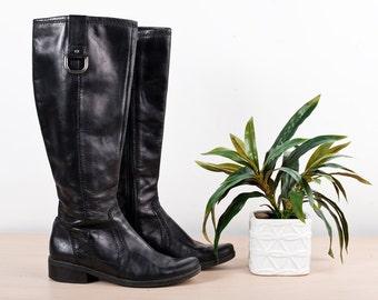Black Vintage Boots Leather Riding - Size 6