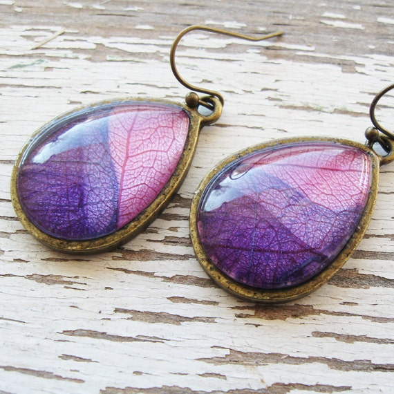 Real Botanical Earrings - Pink and Purple Antique Brass Teardrop Pressed Leaf Earrings
