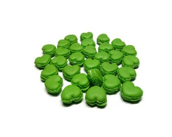 Miniature Food - Macaron Heart Green Color- 10pcs - 17mm For DollHouse, Charms jewelry accessories - LOT2018-031
