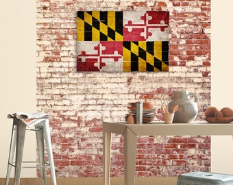 """Maryland State Flag Wall Art on Distressed Solid Wood - 32"""" x 21"""" - Rustic Distressed MD Flag Wood Flag"""