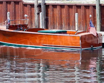 Antique Wooden Boat by Dock - Color Photograph