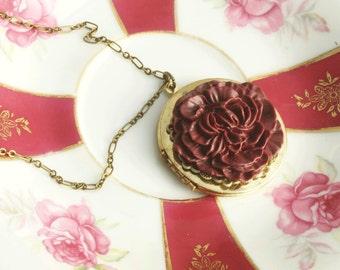 Flower Locket , Bugundy Peony Flower, Valentines Day Locket, Vintage Locket Necklace