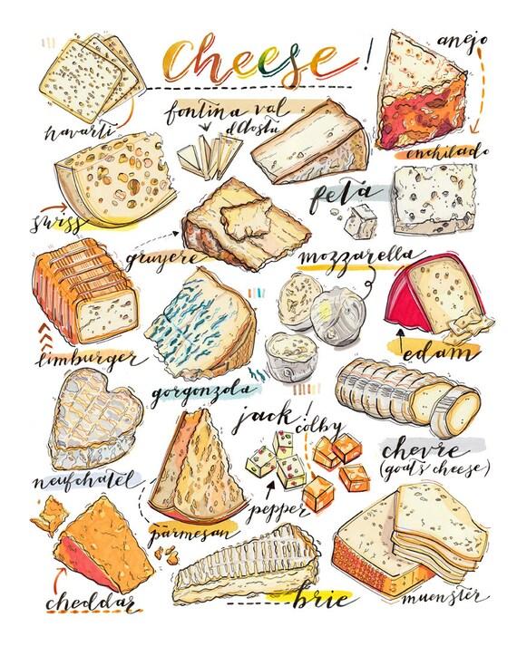Käse-Druck. Abbildung. Küchendekor. Essen Kunst. Gourmet.