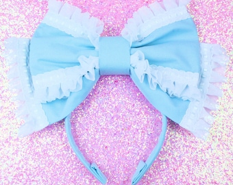 MADE TO ORDER-Baby blue bow-Oversized headbow-Head eating bow-sweet lolita-gothic lolita-baby blue-white lace-chiffon-lolita bow-headband-lo