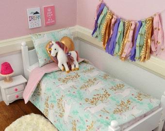 Unicorn doll bedding, 18 inch doll bedding, doll bedding for American Girl, felt unicorn, gold heart pillow