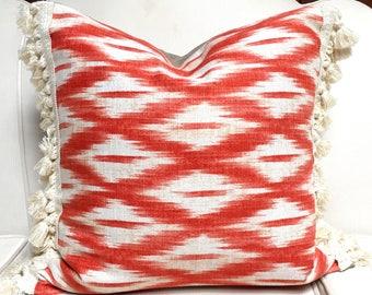 Orange Ikat pillow cover, tassel pillow, burnt orange pillow, linen pillow, orange cushion cover, Ikat pillow, diamond pattern pillow