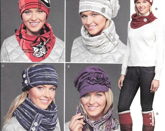 McCalls 8036 , Missews Knit Cold Weather Accessories, Hats in Three Sizes, New Uncut Sewing Pattern for Winter Accessories