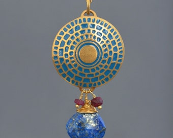 Round Abstract Bullseye Relief Necklace / Peacock Blue Glass Enamel / Lapis / Ruby Chain / Genuine 24k Gold Over Sterling Silver / Unique