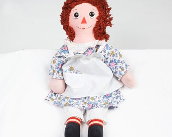Vintage Raggety Ann doll wants a new home Flower dress white ruffle collar and apron with hankie Pantaloons