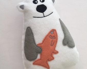 White Felt Polar Bear Softy