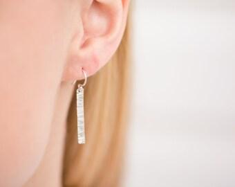Simple Sterling Earrings - Sterling Silver Earrings - Small Bar Earrings - Minimalist Earrings - Long Bar Earrings - Everyday Earrings