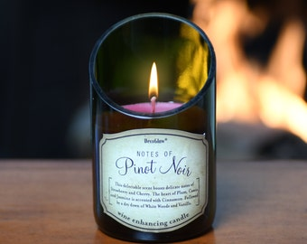 2-Piece Wine Bottle Candle with Beautiful Scent of Pinot Noir. Superb Value Wine Gift. Very Unique.