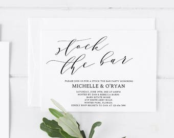 Stock the Bar Invitation Template Couples Shower Invitation Template Couples Shower Invite Template Stock Bar Party Invitation Template WP10