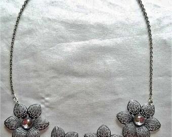 Silver Flower Bib Necklace