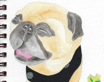 "Pug Print - Sketchbook Series - Watercolor & Collage - ""Whippersnapper"""