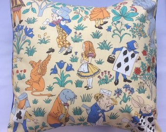 Alice in Wonderland Charles Voysey Arts & Crafts Vintage Fabric Cushion Pillow - handmade by Alien Couture