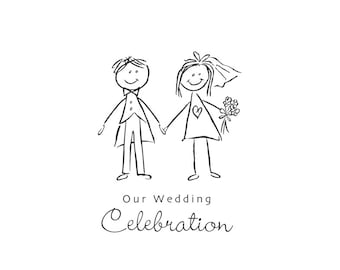 Bride and groom cartoon clip art graphic to use on a wedding invitation, instant download, original graphic.