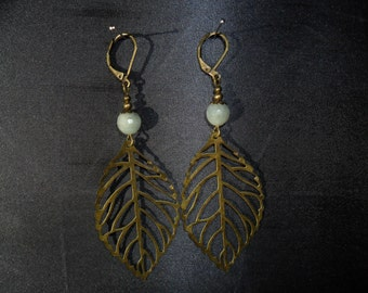 quartz and leaf filigree earrings