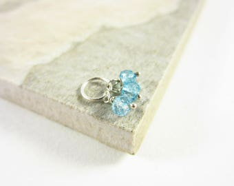 Tiny Trio - London Blue Topaz Pendant - 14k or Sterling Silver Charms - Dark Blue Gemstone Jewelry - Precious Gemstone Charms - Rare Gemsto