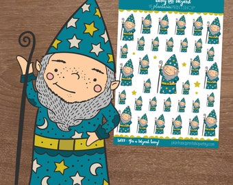 Larry the Wizard, Yer a Wizard Larry, Planner Stickers, Inkwell Press, Happy Planner, Magic, Warlock, Fantasia, Merlin, Wizardry Stickers