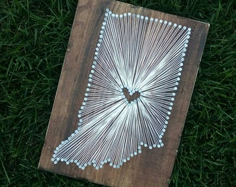 Indiana String Art, Indiana Decor, State string Art, Indiana Nail Art, Indiana Gift, Rustic Decor, custom sign, Indiana love, IN, 9x13