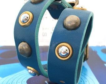 Blue Leather Dog Collar with Brass & Silver Studs, Size S/M to fit a 12-15 Neck, Small Dog, Recycled Belt Collar, Seattle Handmade in USA