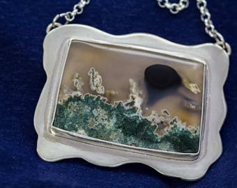 Green Moss Agate Stone Pendant, Scenic, in Sterling Silver Handcrafted