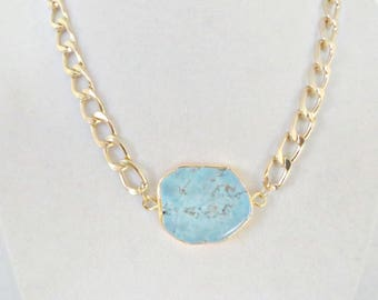 Southwest Necklace Gold Tone Gold Curb Chain Gold Plated Turquoise Slab Howlite Stone Native American Turquoise Necklace Turquoise and Gold
