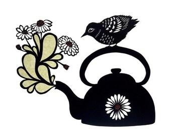 Tea Is Ready - 8 x 10 inch Cut Paper Art Print