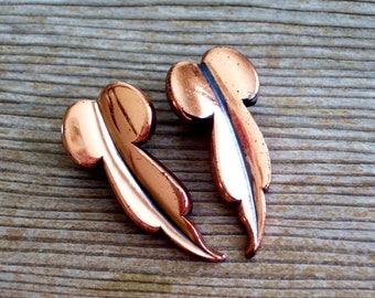 Renoir Leaf Earrings, Copper Leaf Earrings, Vintage Renoir Earrings, RENOIR Copper Elongated LEAF Clip Earrings, Copper Earrings
