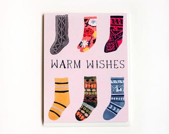 Warm Wishes Socks Card / Set of 8