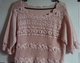90's Lace Knitted Cropped Top, medium