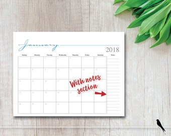 2018 Printable Monthly Wall Calendar - Whimsical Monthly Notes Calendar - 8.5 x 11 Calendar Grid - Mulit-Color Instant Download Calendar