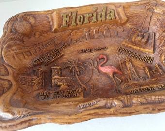 Vintage Florida Souvenir--Florida Collectible--Florida Kitsch--Pink Flamingo Bowl--Arrow Novelty Florida Bowl--Faux Wood Bowl Souvenir