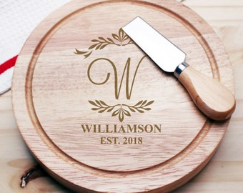 Elegant Script Initial Personalized Gourmet 5pc. Cheese Board Set - Wedding Gifts -Holiday Gifts (JM945427-CS913)