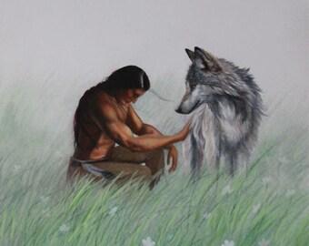 Spirit Brothers - Fine Art Print: Native American art indigenous wolf painting drawing spiritual spirit animals nature serene art wall art