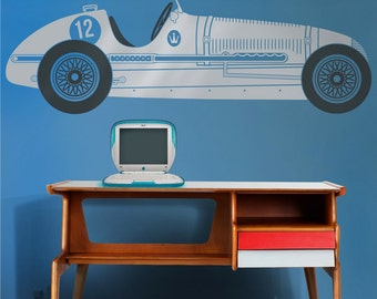 race car vinyl wall decal, maserati wall sticker art, vintage race car, retro grand prix, FREE SHIPPING