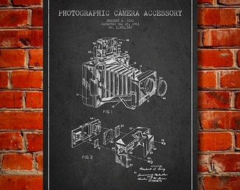 1963 Photographic Camera Patent, Canvas Print, Wall Art, Home Decor, Gift Idea