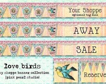 Love Birds Shabby Vintage Valentine and Wedding Etsy Shop Set, Includes Banner, Avatar, Reserved Listing, Away and Sale