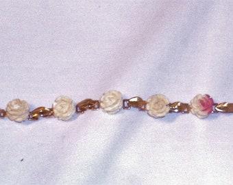 White Faux Ivory Roses Bracelet