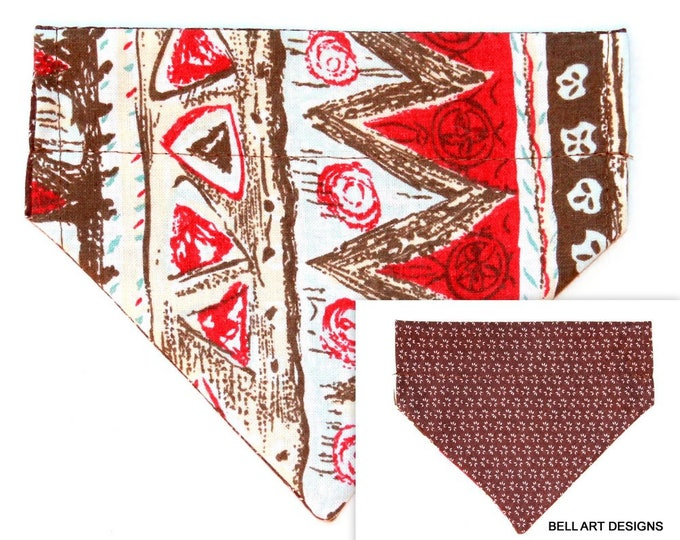 AZTEC DESIGN ~ Over the Collar ~ Reversible ~ Dog Pet Bandana ~ Bell Art Designs ~ Extra Small ~ DCXS0469