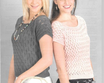 New original Wendy knitting pattern for short sleeve jumpers to fit size 34 - 40 ins double knitting